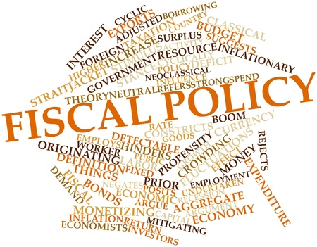 undertaken: Abstract word cloud for Fiscal policy with related tags and terms Stock Photo
