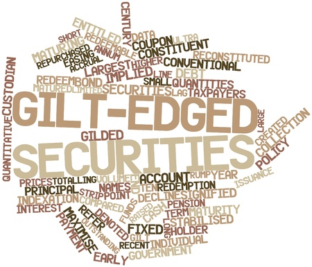 implied: Abstract word cloud for Gilt-edged securities with related tags and terms Stock Photo
