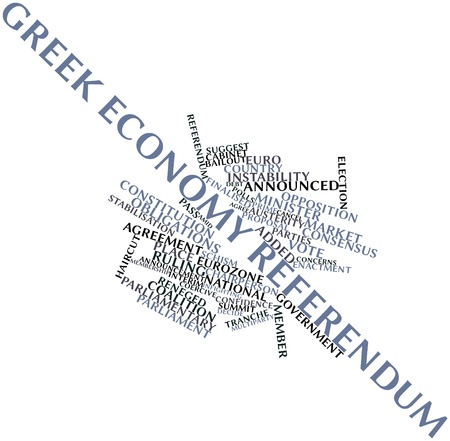 conservatives: Abstract word cloud for Greek economy referendum with related tags and terms