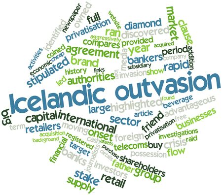 coined: Abstract word cloud for Icelandic outvasion with related tags and terms