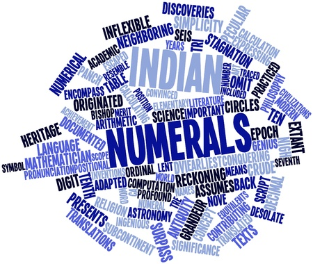 reckoning: Abstract word cloud for Indian numerals with related tags and terms