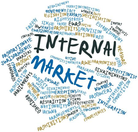 equivalent: Abstract word cloud for Internal Market with related tags and terms Stock Photo