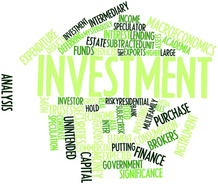 brokers: Abstract word cloud for Investment with related tags and terms Stock Photo