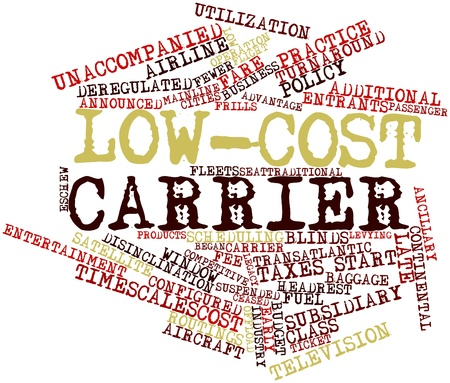 low cost: Abstract word cloud for Low-cost carrier with related tags and terms Stock Photo