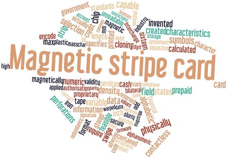 Abstract word cloud for Magnetic stripe card with related tags and terms Stock Photo