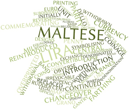 pence: Abstract word cloud for Maltese lira with related tags and terms