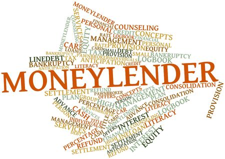 Abstract word cloud for Moneylender with related tags and terms photo