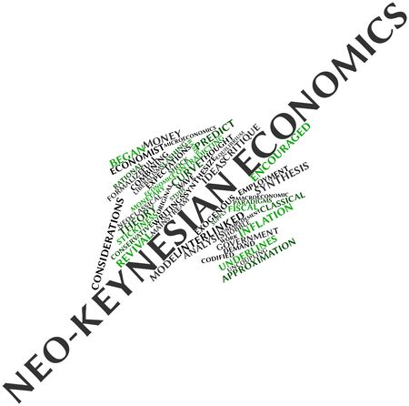 advocated: Abstract word cloud for Neo-Keynesian economics with related tags and terms Stock Photo