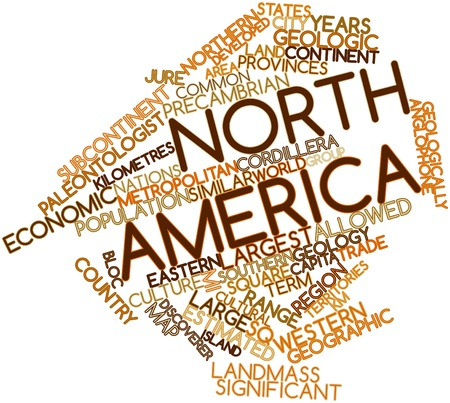 Abstract word cloud for North America with related tags and terms