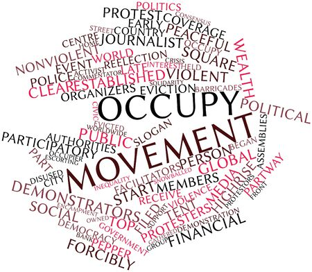 nonviolent: Abstract word cloud for Occupy movement with related tags and terms