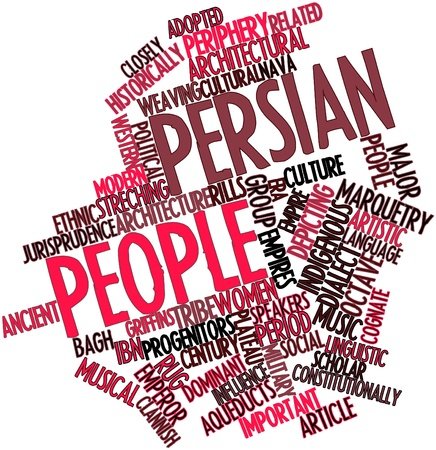 constitutionally: Abstract word cloud for Persian people with related tags and terms Stock Photo