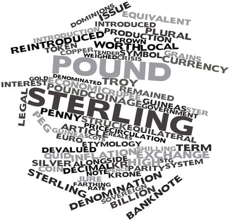 pence: Abstract word cloud for Pound sterling with related tags and terms