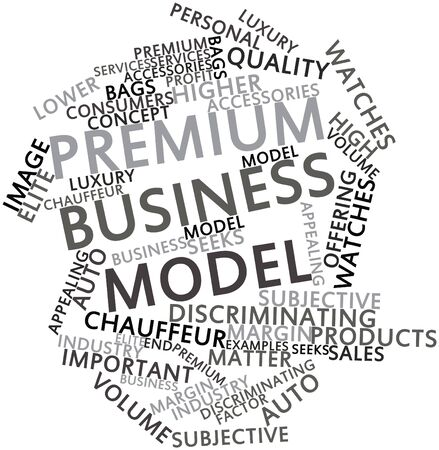 discriminating: Abstract word cloud for Premium business model with related tags and terms