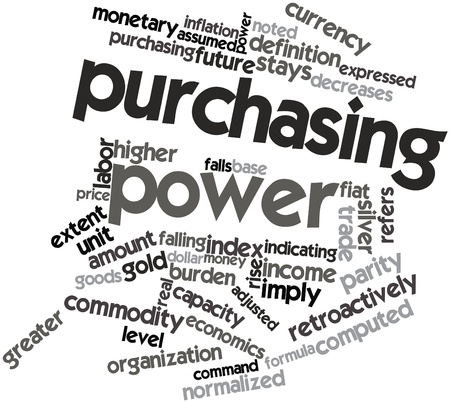 adjusted: Abstract word cloud for Purchasing power with related tags and terms