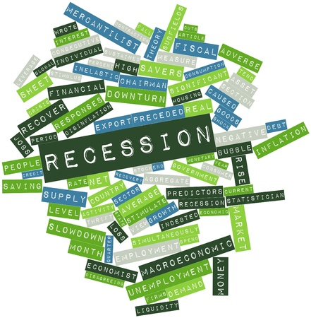 macroeconomic: Abstract word cloud for Recession with related tags and terms Stock Photo