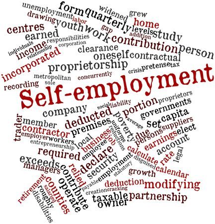 oneself: Abstract word cloud for Self-employment with related tags and terms