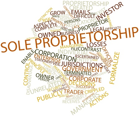 partially: Abstract word cloud for Sole proprietorship with related tags and terms Stock Photo