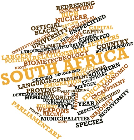 recognised: Abstract word cloud for South Africa with related tags and terms Stock Photo