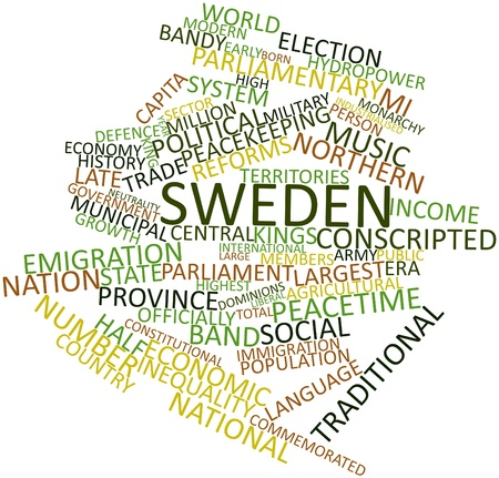 internationally: Abstract word cloud for Sweden with related tags and terms Stock Photo