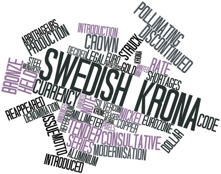 ceasing: Abstract word cloud for Swedish krona with related tags and terms