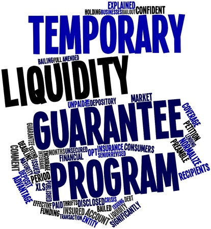 strengthen: Abstract word cloud for Temporary Liquidity Guarantee Program with related tags and terms Stock Photo