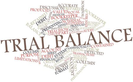 ensures: Abstract word cloud for Trial balance with related tags and terms Stock Photo
