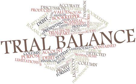 trial balance: Nube palabra abstracta para el balance de prueba con las etiquetas y t�rminos relacionados Foto de archivo