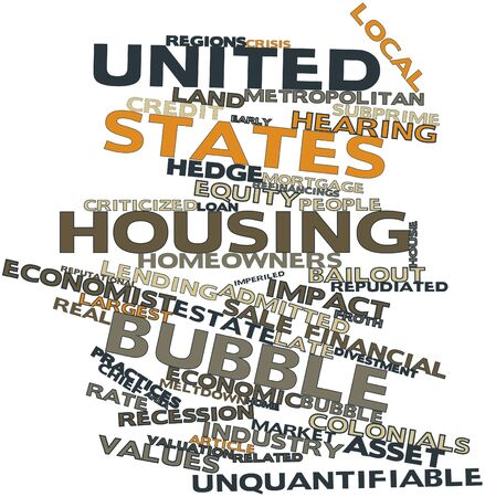 Abstract word cloud for United States housing bubble with related tags and terms photo