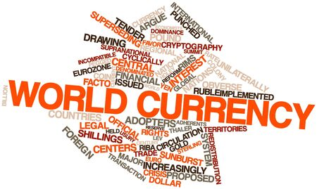 internationally: Abstract word cloud for World currency with related tags and terms Stock Photo