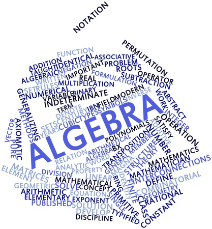 algebraic: Abstract word cloud for Algebra with related tags and terms