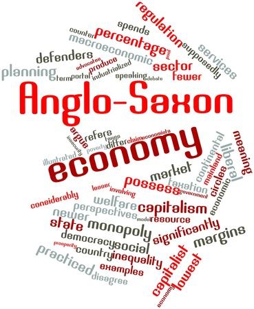 supposedly: Word cloud astratto per anglosassone economia con tag correlati e termini