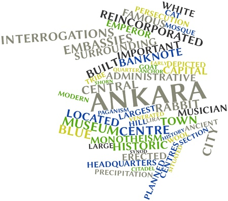conquered: Abstract word cloud for Ankara with related tags and terms Stock Photo