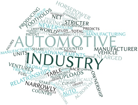 Abstract word cloud for Automotive industry with related tags and terms
