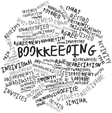 bookkeeping: Nube palabra abstracta para Contabilidad con etiquetas y t�rminos relacionados Foto de archivo