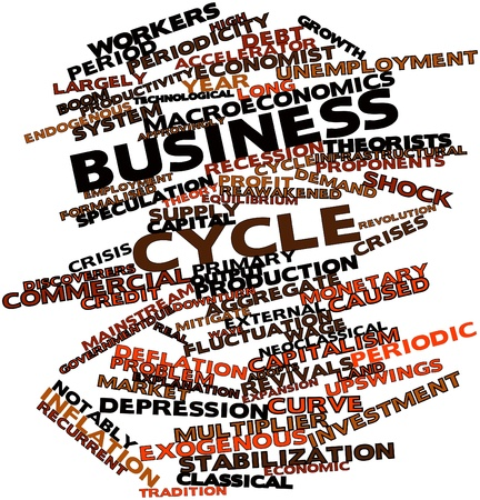 proponents: Abstract word cloud for Business cycle with related tags and terms Stock Photo