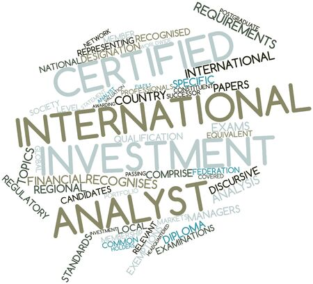 exemptions: Abstract word cloud for Certified International Investment Analyst with related tags and terms