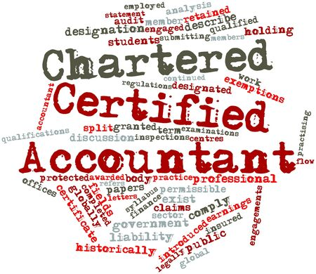 awarded: Abstract word cloud for Chartered Certified Accountant with related tags and terms Stock Photo