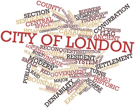 resettlement: Abstract word cloud for City of London with related tags and terms