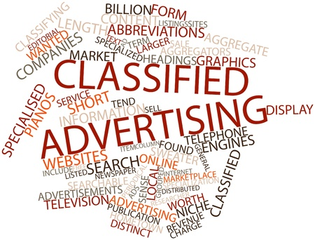 classifying: Abstract word cloud for Classified advertising with related tags and terms Stock Photo