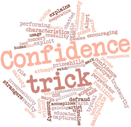 trustworthy: Abstract word cloud for Confidence trick with related tags and terms