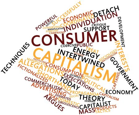 critique: Abstract word cloud for Consumer capitalism with related tags and terms