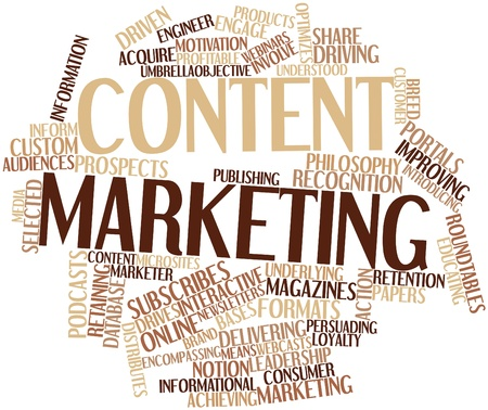 Abstract word cloud for Content marketing with related tags and terms photo