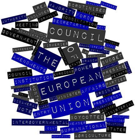 Abstract word cloud for Council of the European Union with related tags and terms Stock Photo - 16489139