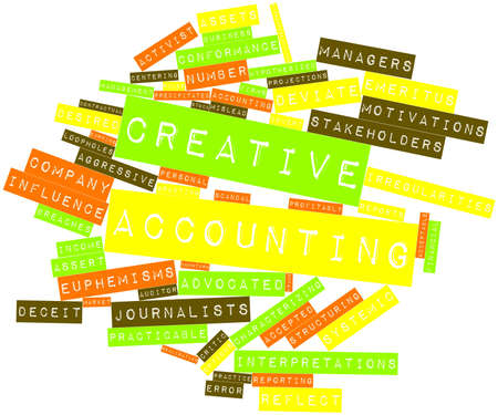 professionalism: Abstract word cloud for Creative accounting with related tags and terms Stock Photo