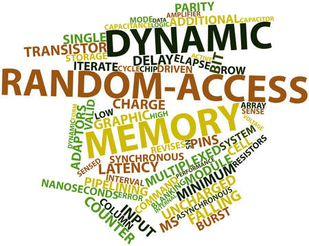 random access memory: Abstract word cloud for Dynamic random-access memory with related tags and terms