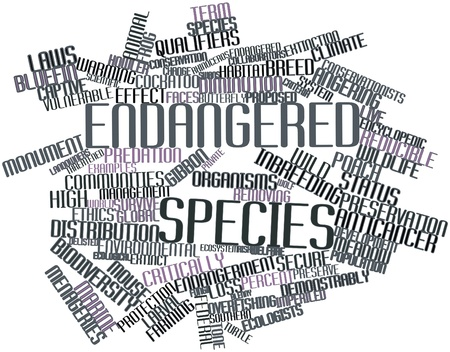 endangered: Abstract word cloud for Endangered species with related tags and terms