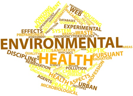 web portal: Abstract word cloud for Environmental health with related tags and terms Stock Photo
