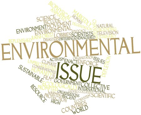 aspects: Abstract word cloud for Environmental issue with related tags and terms