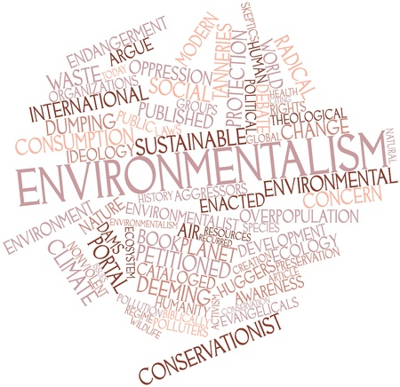 environmental issue: Abstract word cloud for Environmentalism with related tags and terms Stock Photo