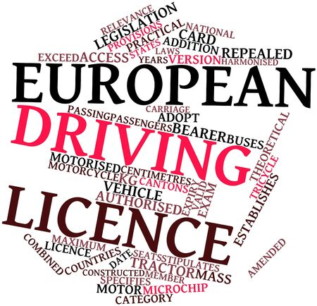 Abstract word cloud for European driving licence with related tags and terms Stock Photo - 16489134